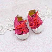 Обувь для кукол, ботиночки чешуя металлик, малиновые - 7*3.5 см