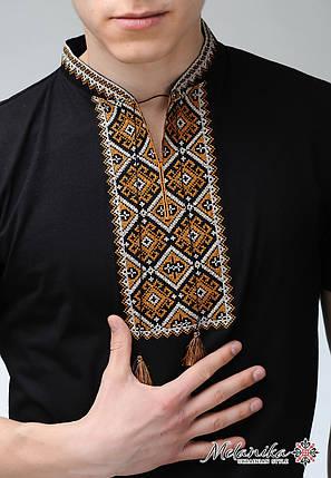 Черная мужская вышитая футболка в современном стиле «Атаманская (золотая вышивка)», фото 2
