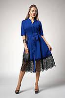Женское клёшное платье с поясом, электрик