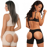 Бежевые трусы для поднятия попы, моделирующие шорты для коррекции бедер и ягодиц - Booty Maker, Размер XXXL