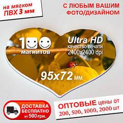 "Мягкий фотомагнит ""Сердце"". Размер 95х72 мм. Толщина 3 мм"
