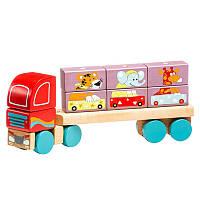 Деревянная игрушка Cubika Тягач с кубиками LM-14