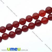 Бусина натуральный камень Мрамор красный, 8 мм, Круглая, 1 шт. (BUS-007605)