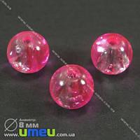 Бусина стеклянная Битое стекло, 8 мм, Прозрачно-розовая, Круглая, 1 шт (BUS-002717)