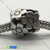 Бусина PANDORA мет. Цветы, 10х10 мм, Античное серебро, 1 шт. (BUS-004231)
