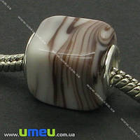 Бусина PANDORA Lampwork квадратная, 15х12 мм, Коричнево-белая, Серебро, 1 шт. (BUS-005711)