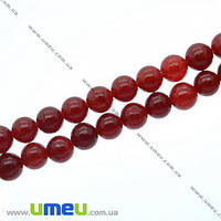 Бусина натуральный камень Мрамор красный, 6 мм, Круглая, 1 шт. (BUS-007604)