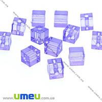 Бусина акриловая Куб, 7х7 мм, Фиолетовая, 1 шт. (BUS-007858)