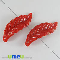 Бусина пластиковая Лист, 40х15 мм, Красная, 1 шт. (BUS-000830)