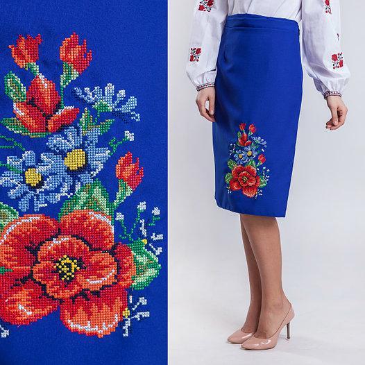 Вышитая синяя юбка плахта Мальва 65см