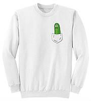 Свитшот Рик и Морти белый с логотипом, унисекс (мужской, женский, детский)