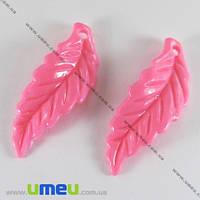 Бусина пластиковая Лист, 40х15 мм, Розовая, 1 шт. (BUS-000836)