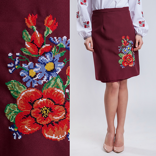 Бордовая юбка на запах плахта Мальва 55см
