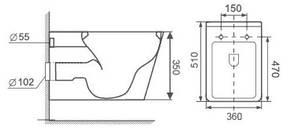 Унитаз VOLLE FIESTA RIM подвесной, сиденье твердое SLIM slow-closing, фото 2