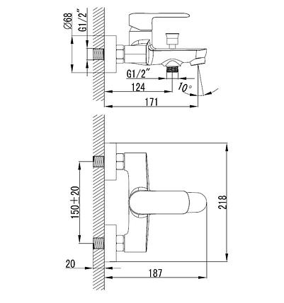 Смеситель для ванны VOLLE FIESTA, хром, 35 мм, фото 2