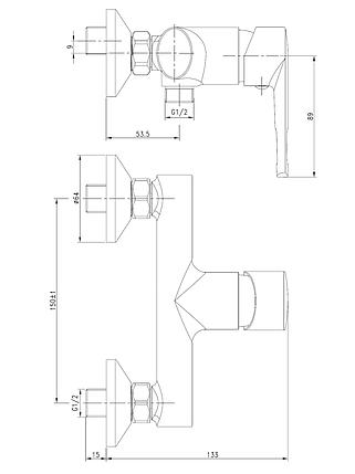 Смеситель для душа VOLLE BENITA, хром, 35 мм, фото 2