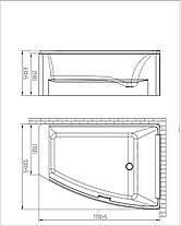 Ванна асимметричная VOLLE без гидромассажа, 1700*1200*630мм, акриловая, левая/правая, фото 3