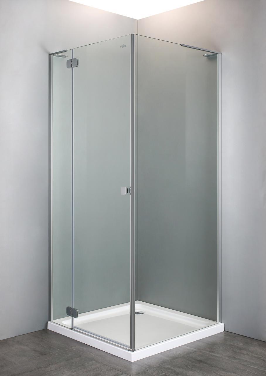 Душевая кабина VOLLE BENITA квадратная 90*90*195 см, поддон (PUF) 5 см, распашная, хром, стекло прозрачное