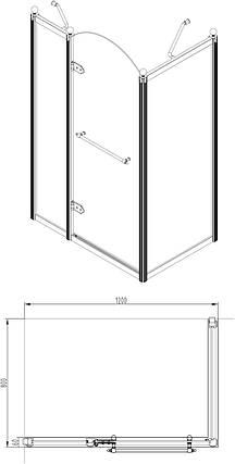 Душевая кабина VOLLE GRAND TENERIFE с распашной дверью, в золоте, без поддона 1200*800*2000мм, левая, фото 2