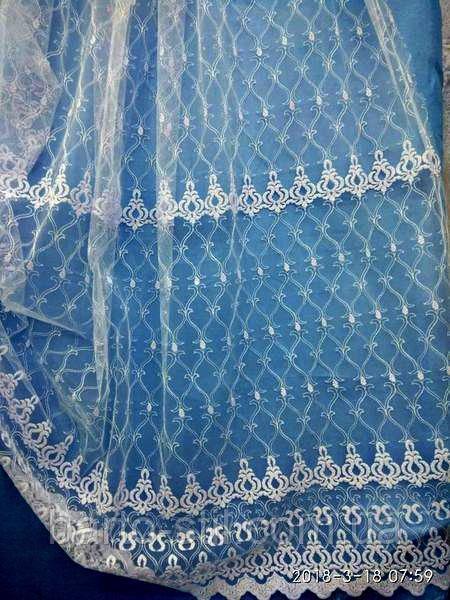 Белая тюль с вышивкой на фатине. Оптом и на метраж .Высота 2.8 м.