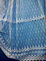 Белая тюль с вышивкой на фатине. Оптом и на метраж .Высота 2.8 м. , фото 1