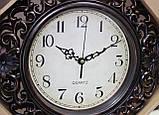 Часы темно-коричневые настенные, ромб с узором, фото 2