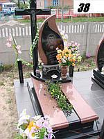 Елітний пам'ятник комплект у формі каплі з двох кольорів граніту та суцільний хрест