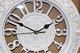 Часы белые настенные, большие цифры, два круга с рисунком, диаметр 30 см, фото 2