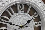 Часы белые настенные, большие цифры, два круга с рисунком, диаметр 30 см, фото 3