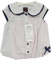 Блузка детская для девочки воротник горох (лето)