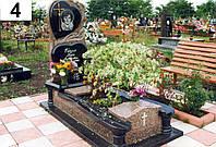 Ексклюзивний пам'ятник з боковою різьбой чорного та червоного граніту на кладовище комплект