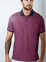 Футболка-поло мужская фиолетовая с мелким узором, фото 1