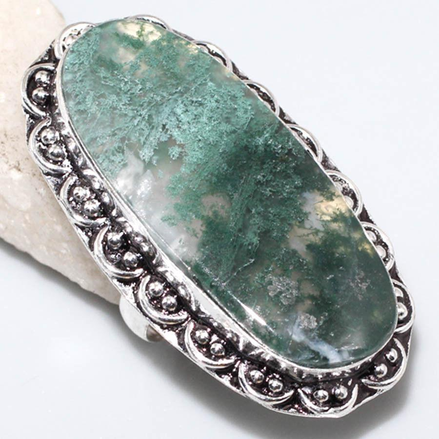 Агат мох крупное овал кольцо с моховым агатом 17.3 размер кольцо с камнем моховый агат в серебре Индия