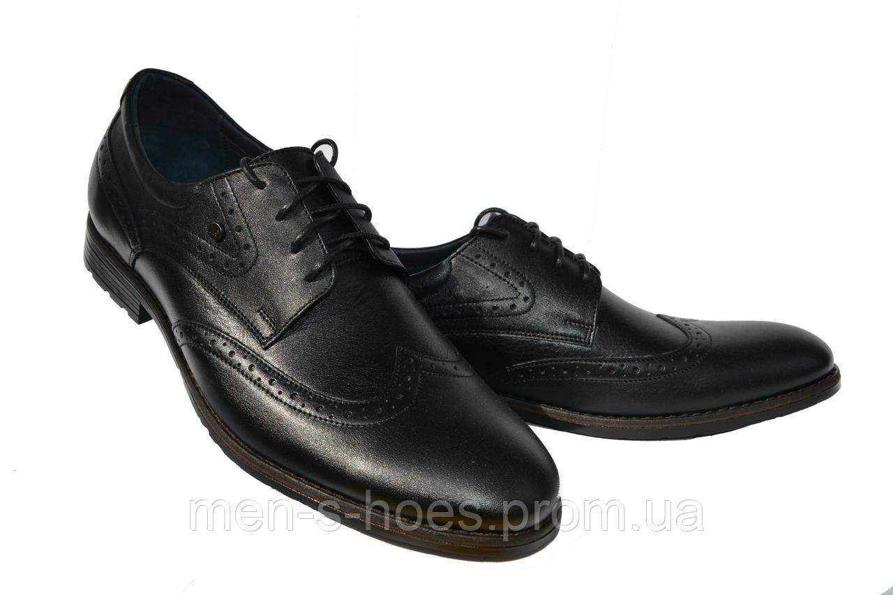 Туфли мужские  кожаные классические на шнурках Vivaro Black