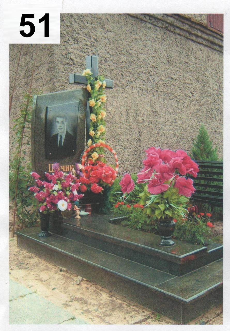 Ексклюзивний пам'ятник на могилу з хрестом із граніту №0070