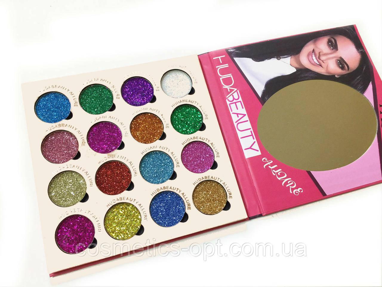 Глитер Huda Beauty Allure 16 Colors of Eyeshadow Glitter Pallete (реплика)