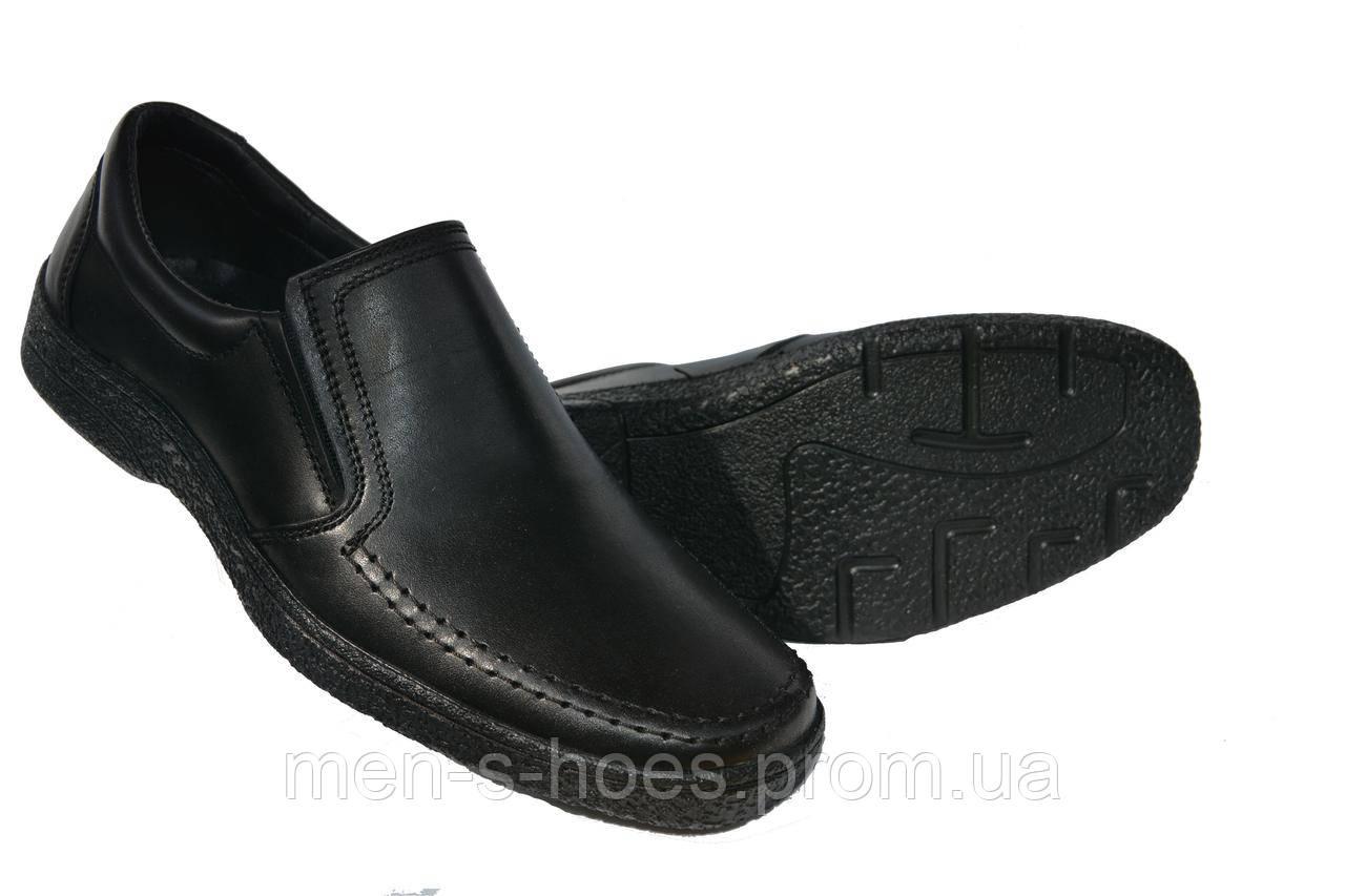 Туфли мужские кожаные Konors Black комфорт на резинке