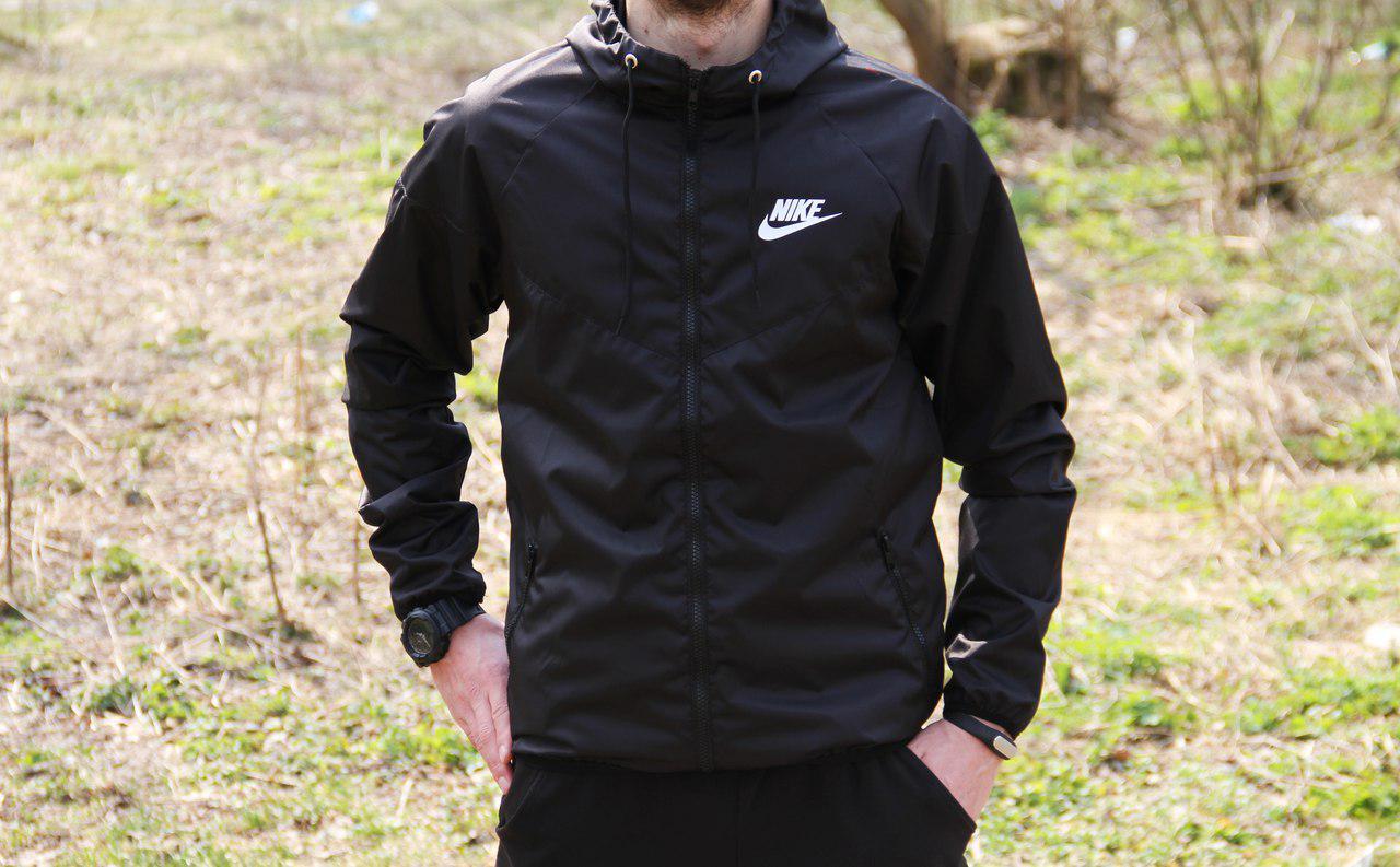 46b70dcd Купить Мужские анораки, куртки ветровки Nike Найки чёрные (реплика ...