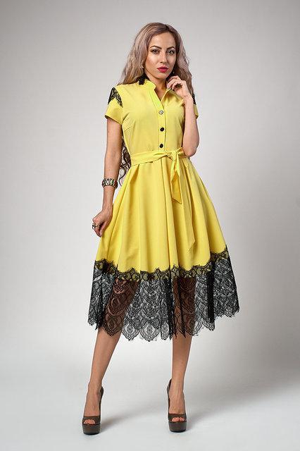 Весеннее стильное платье-клеш с поясом и нежным кружевом.Разные цвета.