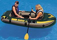 Надувная лодка на 2 человека Seahawk 2 надувной пол (236x114x41см)  ,грузоподьемность 200кг,весла и насос