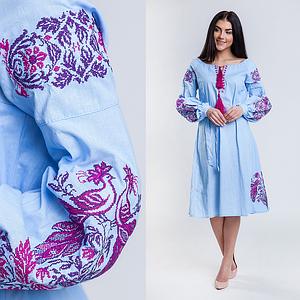Украинское платье клеш с вышивкой Жар Птица