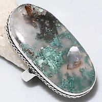 Красивое кольцо с моховым агатом. Перстень с камнем моховый агат в серебре., фото 1