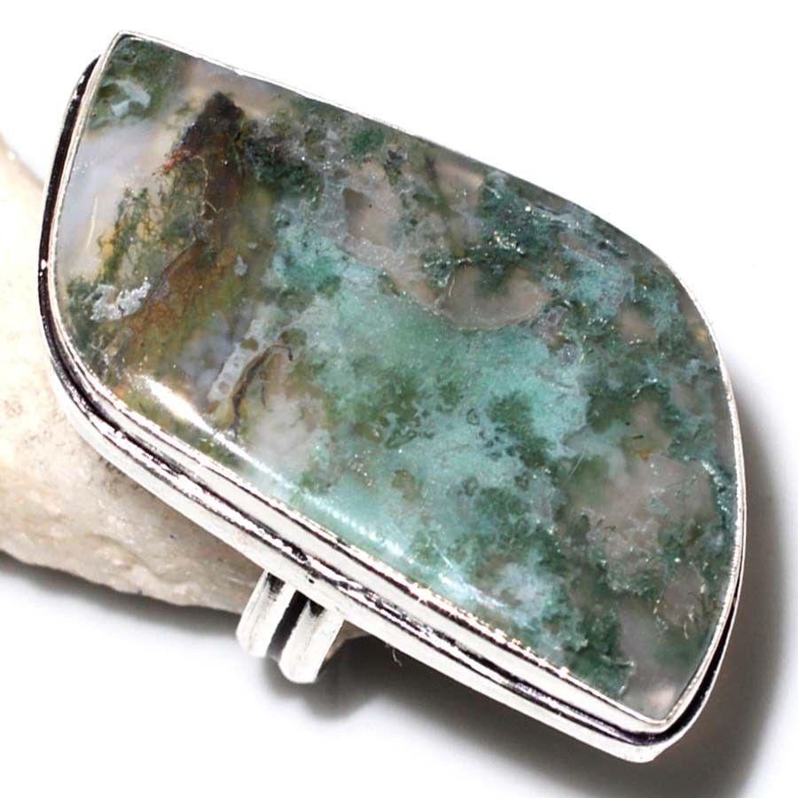 Кольцо с моховым агатом. Элегантное кольцо моховый агат в серебре 17-17,5 размер Индия!