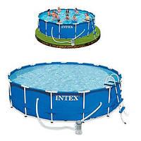 Каркасный круглый бассейн Intex 28218 Metal Frame Pool 366смх99см