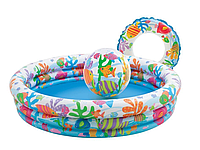 Бассейн детский надувной Рыбки 138*28см+мяч +круг