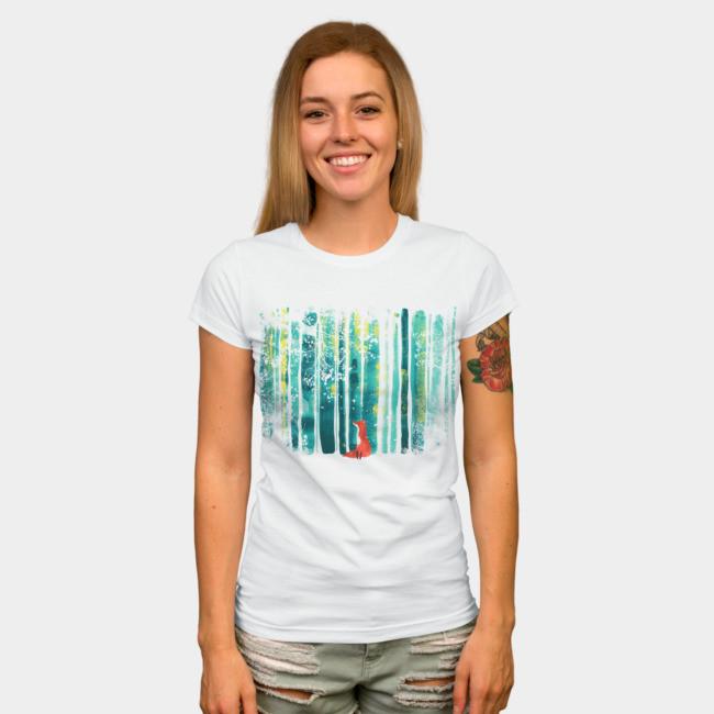 """Футболка женская белая с рисунком """"Лиса и лес"""""""