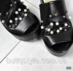 Только 37, 39 размер! Крутые женские черные шлепанцы сабо натур кожа на платформе с жемчугом