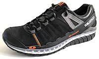 Мужские кроссовки Salomon черные натуральная кожа замш