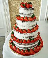 """Лучший свадебный  торт  """"Naked cake"""" с ягодами, фруктами  и цветами в оранжевом цвете"""