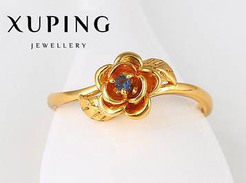 XUPING Кольцо Позолота 24к Розочка с синим цирконом Размер 17,18